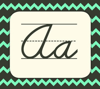 Chevron Themed Alphabet - Cursive