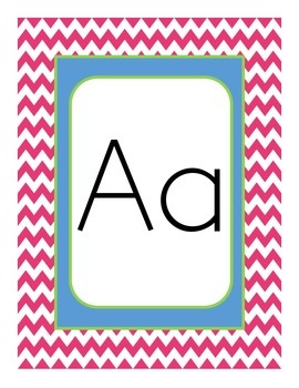 Chevron Themed Alphabet Manuscript Primary Word Wall Pink Lime Green and Blue