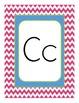 Chevron Themed Alphabet Manuscript Primary Word Wall Pink