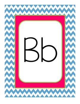Chevron Themed Alphabet Manuscript Primary Pink Lime Green and Blue