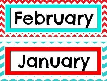 Chevron Themed Calendar