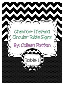 Chevron Themed Circular Table Signs