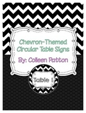 Chevron Themed Circular Table Signs