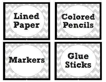 Chevron Themed Classroom Labels