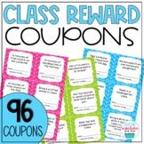 Classroom Reward Coupons Chevron Theme EDITABLE Template