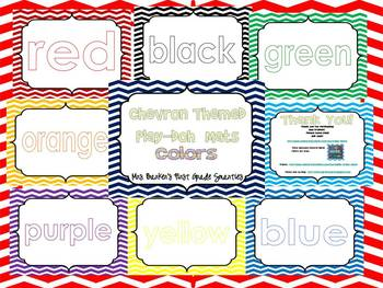 Chevron Themed Color Words Play-Doh Mats