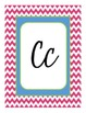 Chevron Themed Cursive Alphabet Pink Lime Green and Blue