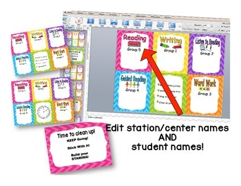 Reading Rotation Powerpoint Chevron Theme for Daily Centers & Guided Reading