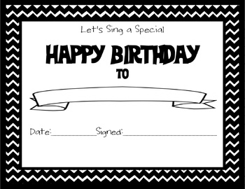 Chevron Themed Happy Birthday Certificate Black