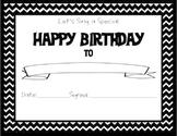 Chevron Themed Happy Birthday Certificate Black