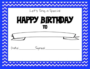 Chevron Themed Happy Birthday Certificate Blue