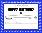 Chevron Themed Happy Birthday Certificate Blue