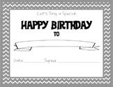Chevron Themed Happy Birthday Certificate Gray
