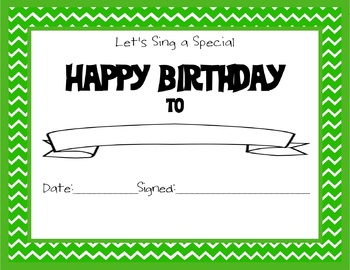 Chevron Themed Happy Birthday Certificate Green