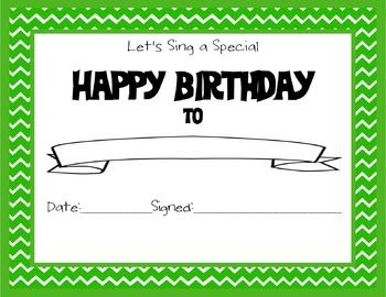 Chevron Themed Happy Birthday Certificate Green
