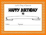 Chevron Themed Happy Birthday Certificate Orange
