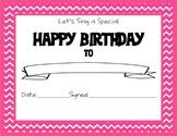 Chevron Themed Happy Birthday Certificate Pink