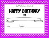 Chevron Themed Happy Birthday Certificate Purple