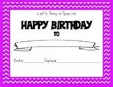 Chevron Themed Happy Birthday Certificate Purple
