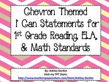 "Chevron Themed ""I Can"" Statements for ALL 1st Grade Common Core Standards"