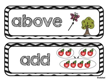 Chevron Themed Kindergarten Math Word Wall Cards {Common Core}