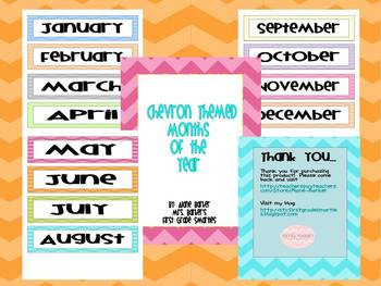 Chevron Themed Months of the Year