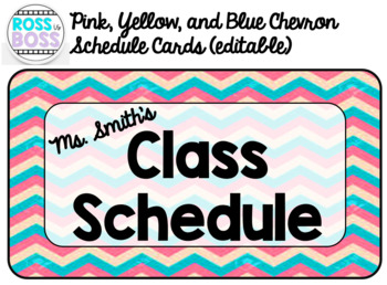 Chevron Themed Schedule Cards (editable)