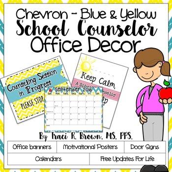 2016 - 2017 Chevron Blue & Yellow School Counselor Office Décor