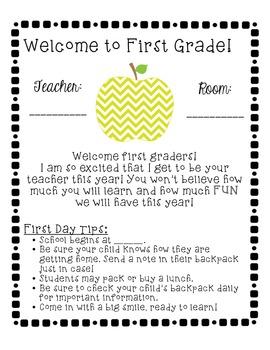 Chevron-Themed School Year Starter Pack (1st Grade)