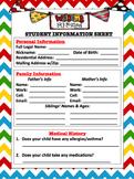 Chevron Themed Student Information Sheet