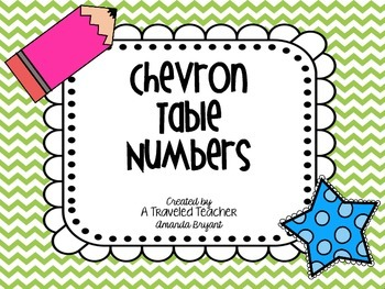 Chevron Themed Table Numbers