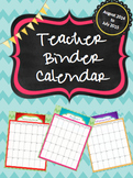 Chevron Themed Teacher Binder Calendar 2014-2015
