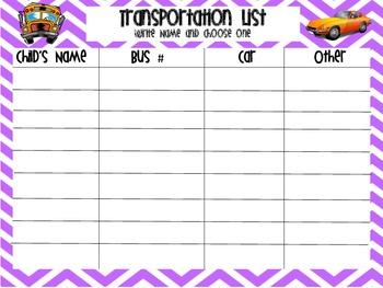 Chevron Themed Transportation Sheet