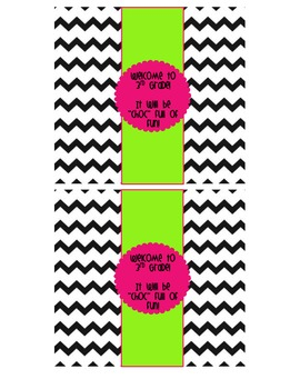 "Chevron Themed ""Welcome to ____ Grade"" Candy Bar Wrappers"