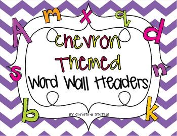 Chevron Themed Word Wall Headers