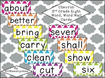 Chevron Third Grade Sight Word / Word Wall Cards