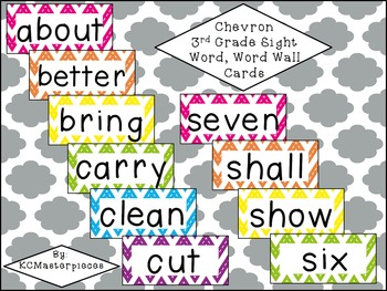 Chevron Third Grade Sight Word / Word Wall Cards