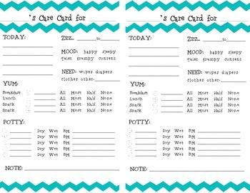 Chevron Toddler Daily Report Care Card