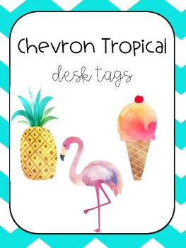 Chevron Tropical Desk Tags