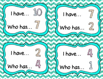 I have Who has numbers to 20 game *Chevron* Turquoise