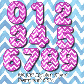 Chevron Watercolor Alpha Clip Art