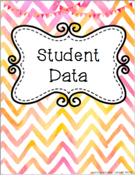 Chevron Watercolor Student Data Binder Cover, Divider Pages, & Spines