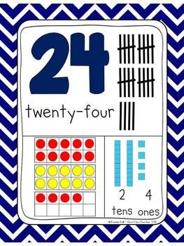 Chevron 0-30 Number Posters (Ten Frames, Tallies, Base Ten)