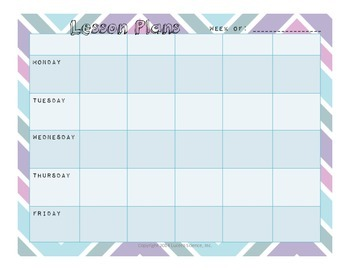 Chevron Weekly Homework/Lesson Planner