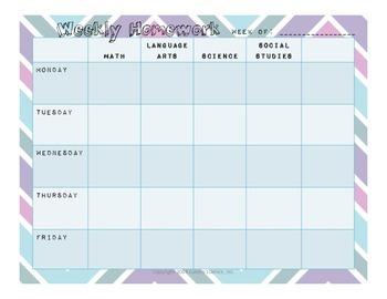 Chevron Weekly Homework/Lesson Planner