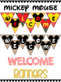 Chevron Welcome Banner Signs - Mickey Mouse Theme - Disney Classroom Decor
