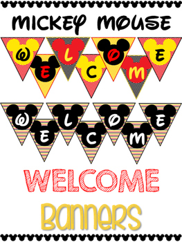 Chevron Welcome Banner Signs - Mickey Mouse Theme - Disney Classroom Decor