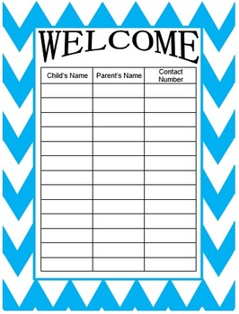 Chevron Welcome Sign In for Back to School in 8 different colors