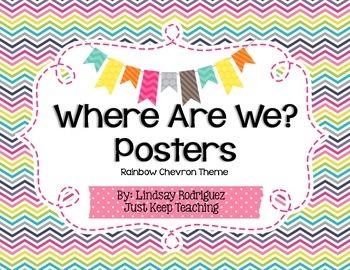 {Chevron} Where Are We? Poster- Printable, Organized, Chevron