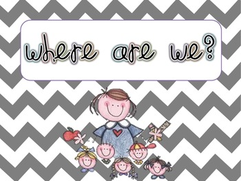 "Chevron ""Where are We"" Sign with labels"